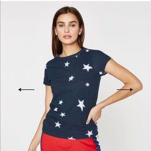 PAM & GELA Navy White Star Print Tee Shirt Top L